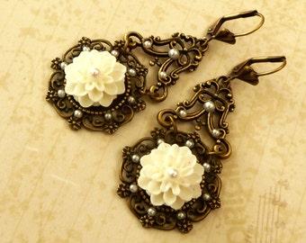 Noble earrings in antique style with white dahlias Drop Earrings Long Earrings
