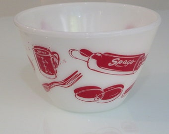 Vintage retro Fire King Oven ware Spags red and white Kitchen aids graphic 2 quart splash proof mixing bowl