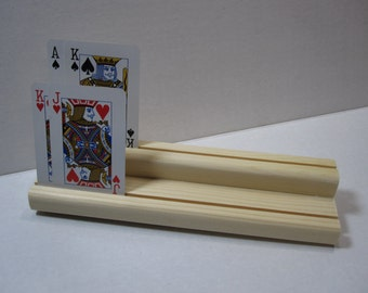 Wooden Playing Card Holder / Two Level
