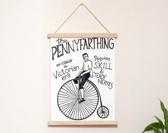 Pennyfarthing Vintage Bicycle Art Print - hand printed original relief lino print. Limited edition **last few!**