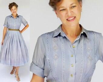 """50s Dress / 1950s Dress / 50s Day Dress / 1950s Day Dress / Shirtwaist Dress / Shirt Waist Dress / New Look Dress / Purple Dress / W 28"""""""