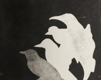Black  and white birds print