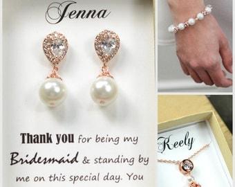 Rose gold Wedding Jewelry Bridesmaid Gift Bridesmaid Jewelry Bridal Jewelry ivory /Pink or white Pearl Drop Earrings Cubic Zirconia Earrings