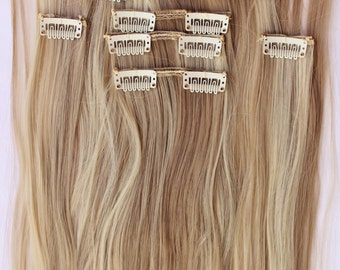 Hair extensions etsy ready to ship 26 sandy blonde bleach blonde hair extensions blonde hair clip pmusecretfo Images