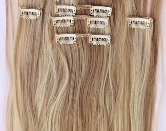 """READY TO SHIP 26"""" Sandy Blonde Bleach Blonde Hair Extensions, Blonde Hair, Clip in Extensions, 8 piece Set, Bleach Blonde Highlights"""