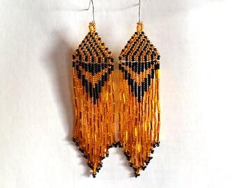 Native American Beaded Earrings  Inspired. Black Gold Earrings. Christmas Gift