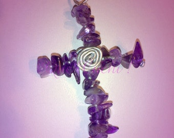Cross of Amethyst with silver aluminum wire