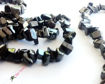 Hematite chips Necklace  of 80 cm around the neck