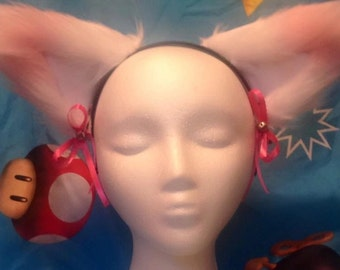 Pastel white and pink fursuit ears