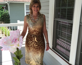 Sheath Dress...ombre mocha and gold with gold foil accents...classic business dress...Medium...ITY knit...sleeveless...knee length