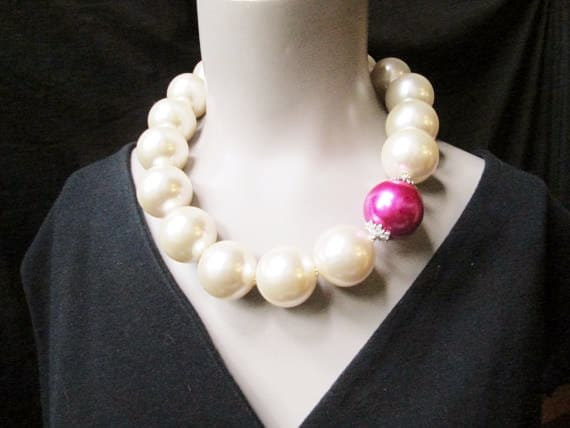 Big Pearl Necklace Chunky Pearl Necklace Off White Ivory Hot
