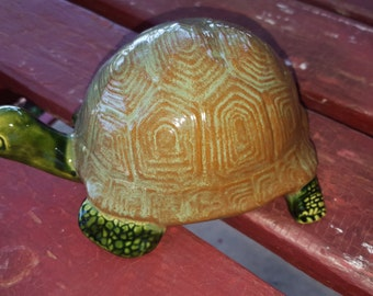 Turtle, Tortoise, Garden Decor, Vintage Mold, Woodland Animal, Hand-painted Glaze, Collectible