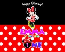 Minnie Mouse Backdrop, Minnie  Dessert Table Background, Minnie Mouse First Birthday Backdrop Printable