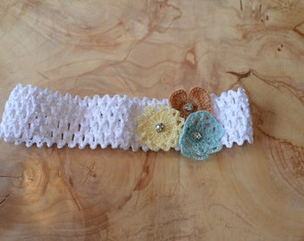 White, Yellow, and Light Blue Flower Baby Headband