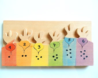 Counting game,Wood vegetables, Color learning game, Educational game, Wladorf, Montessori, Counting Game, Toddler gift, sensory toy