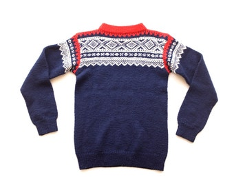 Navy Blue White Red Geometric Nordic Print Shrunken Knit Crew Neck Sweater | XS S | Vintage