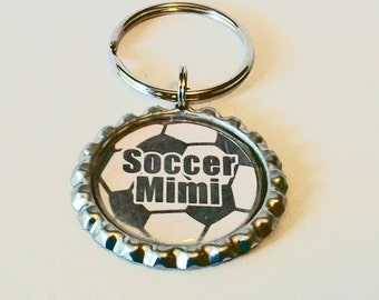 Fun Soccer Ball Soccer Mimi Grandmother Metal Flattened Bottlecap Keychain Great Gift
