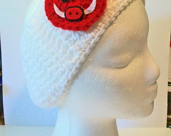 Trendy White and Red Hog Razorback Hand Crocheted Headband Ear Warmer Child & Adult Sizes Available