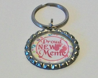 Pink Proud New Meme Grandmother Metal Flattened Bottlecap Keychain Great Gift