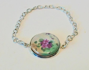 Vintage Style Purple Violets Silver Chain Fashion Bracelet