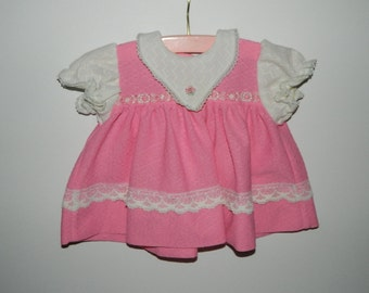 Vintage 1970s Pink Baby Girl Dress Size 12 Months