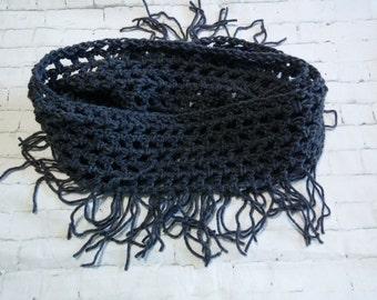 Sale! Crochet Fringe Infinity Scarf, Fringe Cowl, Crochet scarf, Fringe Scarf, grey Infinity Scarf