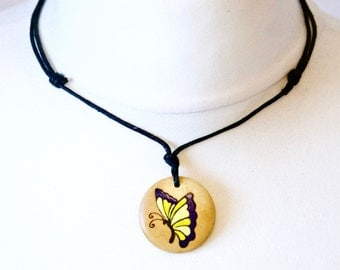 Butterfly Choker Necklace Wood Burned Hand Painted Pendant Gift