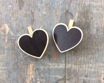 2 wooden heart chalkboard blackboard 5.5 cm heart Barrettes