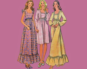 70s Maxi Dress Pattern / Empire Waist Babydoll Dress Bohemian Dress Pattern / McCalls 3131 Bust 32.5 Vintage Sewing Patterns for Women