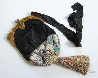 Antique embroidered reticule bag- Victorian tapestry evening purse