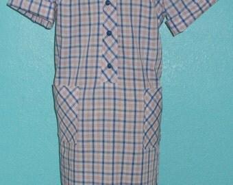 """1960s Vintage """"Lauren Originals"""" Plus Size Cotton Blend Woven Plaid Housedress — size XL-XXL"""