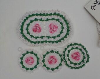 Vintage Crochet Rose Potholders - Crochet Apron - Vintage Crochet Pattern