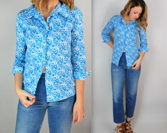 Vintage 60's Psychedelic Print tight fitted Button Blouse