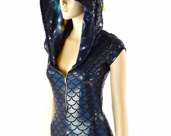 Black Dragon Scale Holographic Zipper Front Cap Sleeve Hoodie Romper with Lime Holo Spikes & Galaxy Hood Lining  -152377
