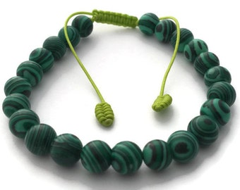 Tibetan Malachite Beads Adjustable Wrist Mala Bracelet