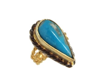 Turquoise Teardrop Ring, Vintage Gold Plated Sterling Silver Triple Band Ring, Size 4.5