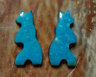Blue Turquoise Bear Cabochon Pair/ Sonora, Mexico