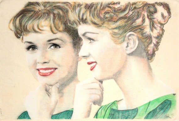 One-off, hand-drawn portrait of Debbie Reynolds, in charcoal and pastel on calico