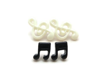 Treble Clef Earrings and Music Note Earrings Set of Two Pair of Music Earrings Plastic Post Earrings Hypoallergenic for Metal Sensitive Ears