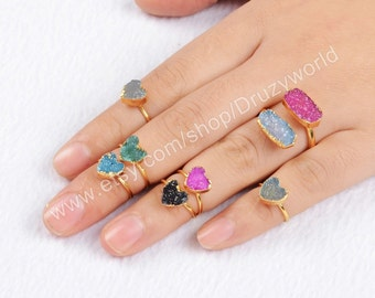 1pcs Adjustable Gold Plated Copper Colorful Agate Druzy Geode Heart Knuckle Ring Natural Druzy Midi Ring Drusy Gemstone Jewelry G0600
