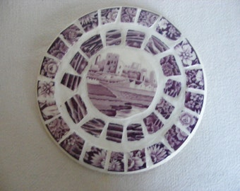 Broken China Mosaic Hot Pad Purple Transfer Ware Plate