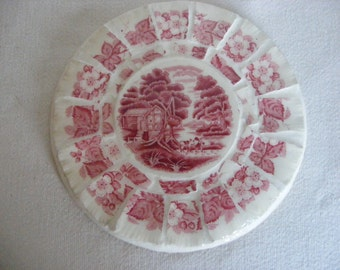 Broken China Mosaic Hot Pad Red Pink Flowers Transferware English Motif