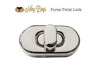 Purse Twist Lock (with screws) / Purse Turn Locks / Bag Hardware for Handbags, Purses, Totes (Nickel Finish)