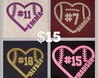 Baseball Heart Personalized Shirt
