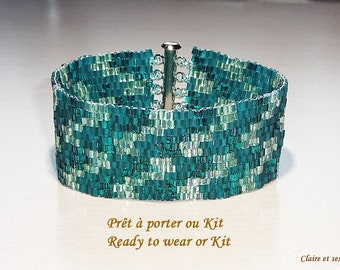 Turquoise  cuff bracelet. Peyote stich. Kit or ready to wear. DIY. Cuff.