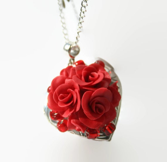 Red rose heart locket necklace valentines gift locket like this item mozeypictures Image collections