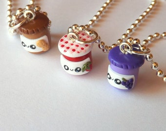 Three Best Friends - Peanut Butter and Jelly Best Friends Necklaces - Three Friendship Necklaces - Peanut Butter and Jelly Charms - Sisters