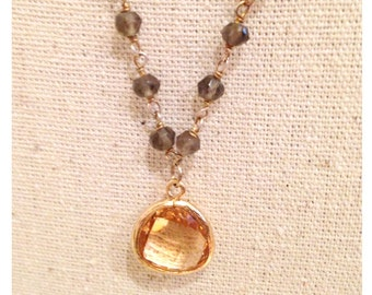 with a citrine and semi precious beads necklace