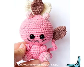 Leaf Monster from the Magic Forest - crochet amigurumi toy. Pink, beige, brown.