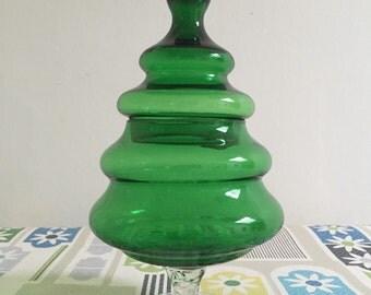 Retro Glass 'Christmas' Bon Bon Jar - Green
